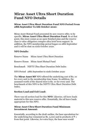 Mirae Asset Ultra Short Duration Fund NFO Details