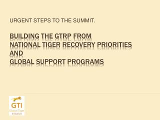 BUILDING THE GTRP FROM National Tiger Recovery Priorities and  global support programs