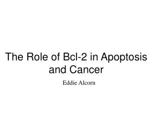The Role of Bcl-2 in Apoptosis and Cancer