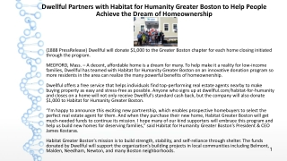 Dwellful Partners with Habitat for Humanity Greater Boston to Help People Achieve the Dream of Homeownership