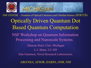 Optically Driven Quantum Dot Based Quantum Computation