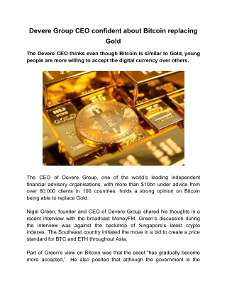 Devere Group CEO Confident About Bitcoin Replacing Gold
