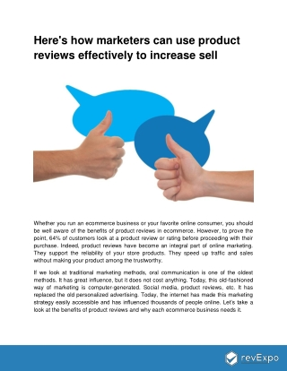 How marketers can use product reviews effectively to increase sell