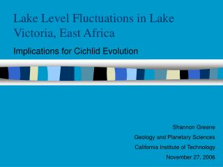 Lake Level Fluctuations in Lake Victoria, East Africa