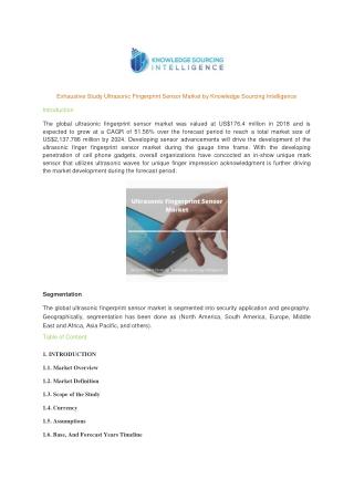 Exhaustive Study on Ultrasonic Fingerprint Sensor Market