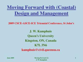 Moving Forward with (Coastal) Design and Management
