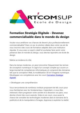 Formation Stratégie Digitale - Devenez commercialisable dans le monde du design