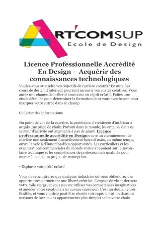 Licence Professionnelle Accrédité En Design – Acquérir des connaissances technologiques