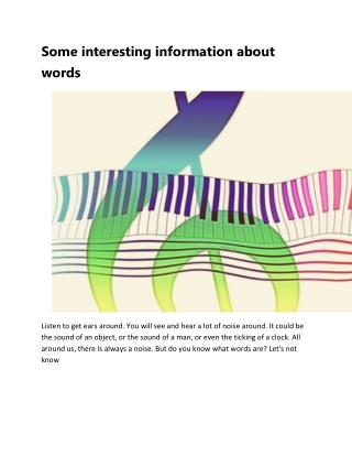 Some interesting information about words