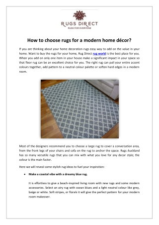 Choose rugs for a modern home decor