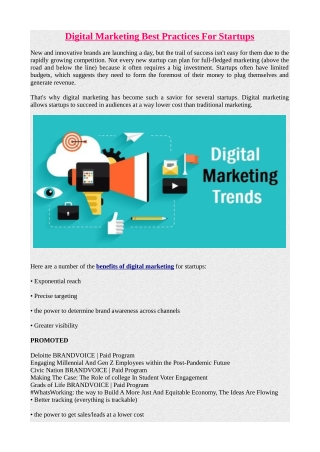 Digital Marketing Best Practices For Startups