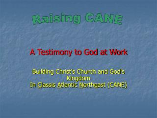 A Testimony to God at Work Building Christ's Church and God's Kingdom In  C lassis  A tlantic  N orth e ast (CANE)