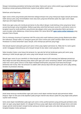 Ketentuan Agen Judi Casino Online Indonesia