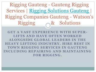 Rigging Gauteng - Gauteng Rigging Services | Rigging Solutions Gauteng | Rigging Companies Gauteng - Watson's Rigging &