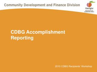 CDBG Accomplishment Reporting