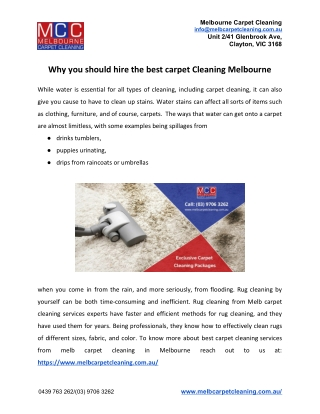 Why you should hire the best carpet Cleaning Melbourne