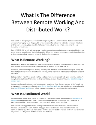 What Is The Difference Between Remote Working And Distributed Work?