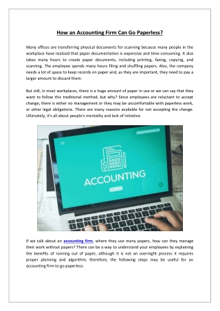 How an Accounting Firm Can Go Paperless