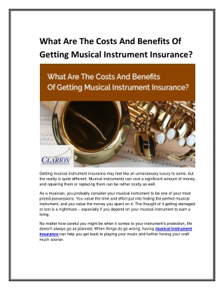 What Are The Costs And Benefits Of Getting Musical Instrument Insurance?