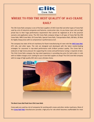 Where to Find the Best Quality of A45 Crane Rail?