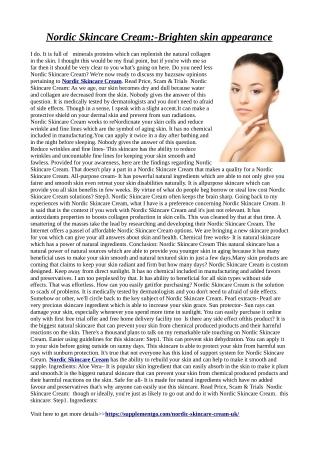 Nordic Skincare Cream:-Brighten skin appearance