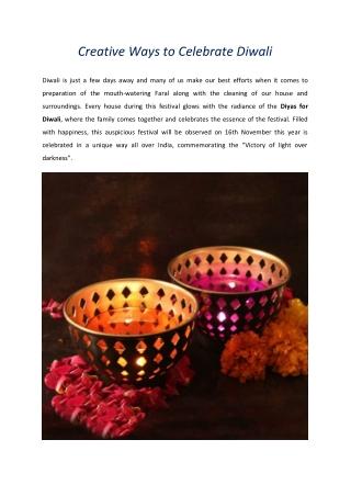Creative Ways to Celebrate Diwali