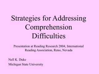 Strategies for Addressing Comprehension Difficulties