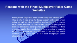 Reasons with the Finest Multiplayer Poker Game Websites