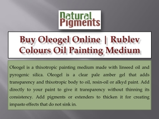 Buy Oleogel Online   Rublev Colours Oil Painting Medium