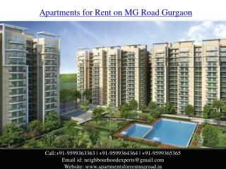 Apartments for Rent MG Road Gurgaon @ 9599363363