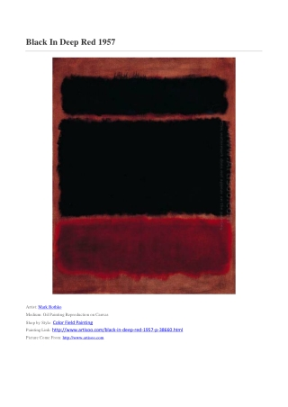 Black In Deep Red 1957,Mark Rothko,Color Field Painting