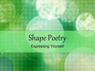 Shape Poetry