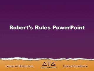 Robert's Rules PowerPoint
