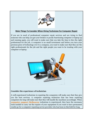Main Things To Consider When Hiring Technician For Computer Repair