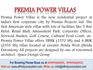 Premia Villas Noida Extension
