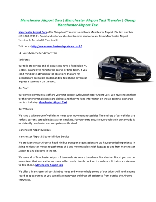 Manchester Airport Cars | Manchester Airport Taxi Transfer | Cheap Manchester Airport Taxi