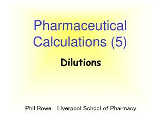 Pharmaceutical Calculations (5)