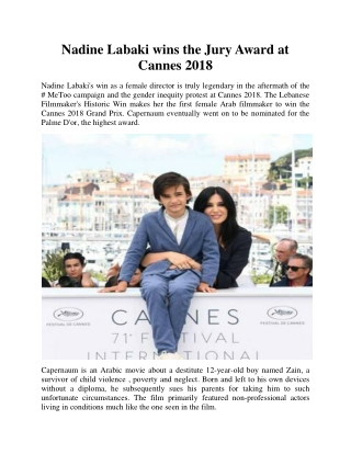 Nadine Labaki wins the Jury Award at Cannes 2018
