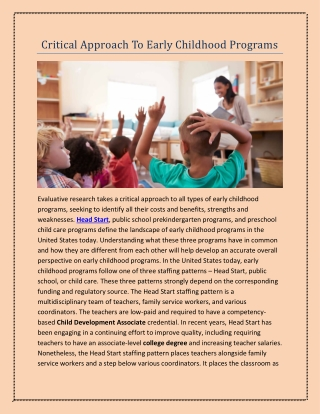 Critical Approach To Early Childhood Programs