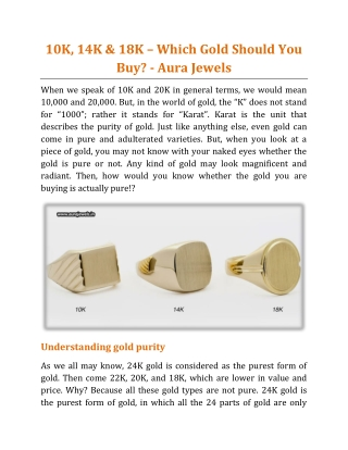 10K, 14K & 18K _ Which Gold Should You Buy - Aura Jewels