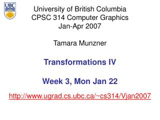 Transformations IV Week 3, Mon Jan 22
