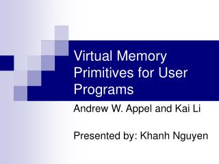 Virtual Memory Primitives for User Programs