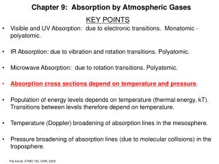 Chapter 9:  Absorption by Atmospheric Gases