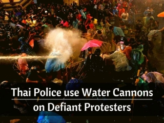 Thai police use water cannons on defiant protesters
