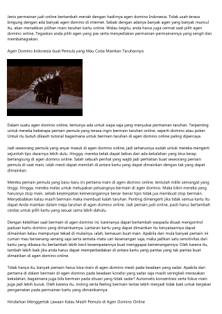 Daftar Agen Domino Indonesia Paling baik serta Dapat dipercaya