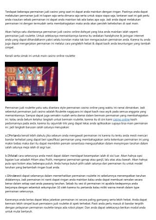 Tips Main Judi Casino Online Roulette Makin Ringan