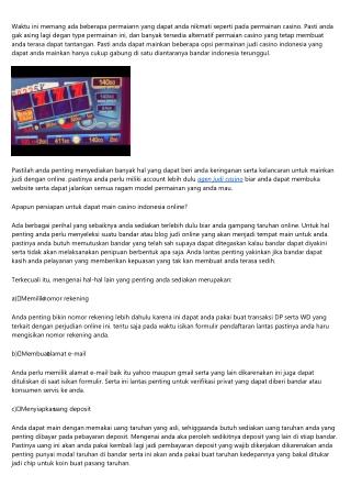 Sediakan Hal Ini Biar Dapat Main Taruhan Casino Indonesia
