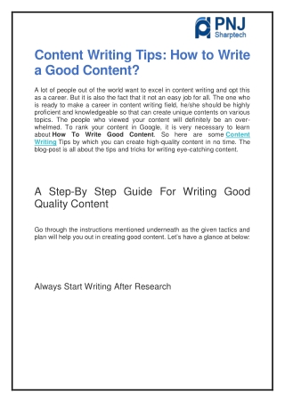 Content Writing Tips: How to Write a Good Content?