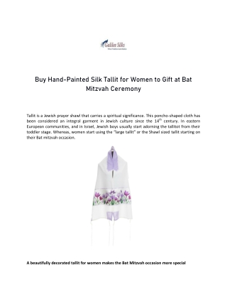 Buy Hand-Painted Silk Tallit for Women to Gift at Bat Mitzvah Ceremony