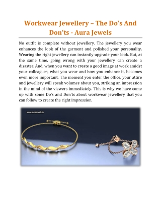 Workwear Jewellery _ The Do's And Don'ts - Aura Jewels